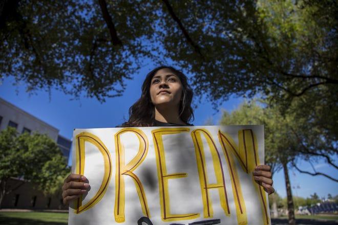 Dreamer Fabiola Espinoza protests outside the Arizona Supreme Court on April 2, 2018.