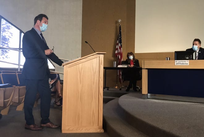 Michael Woodyard, attorney for Progress for Michigan 2020, takes questions from Port Huron City Council members at a meeting on Monday, May 10, 2021, at the Municipal Office Center.