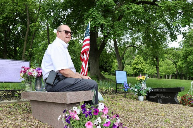 Bob Mann, of Dover Township, sits at memorial benches for Lillie Belle Allen and Henry Schaad in Farquhar Park on Tuesday, May 11, 2021. Tina Locurto photo.