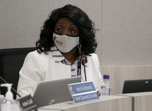 Board President Angie Taylor is seen during the Washoe County School Board meeting at their headquarters in Reno on May 11, 2021.