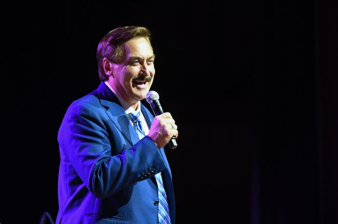 Mike Lindell launches his new social media site, Frank, on Monday, May 10, 2021 at the Corn Palace in Mitchell, South Dakota.