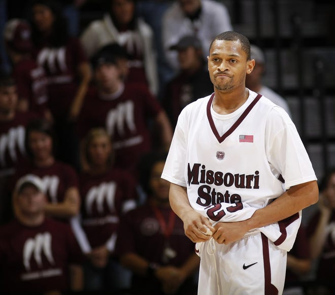 MSU guard Cardell McFarland expresses his frustration as he exits the court after receiving a foul call during the second half of their basketball game against the Arkansas-Little Rock Trojans at the JQH Arena on the Missouri State University campus in Springfield, Missouri, Wednesday, December 3, 2008.