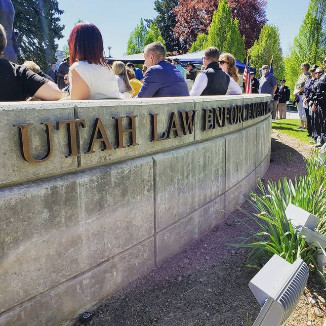 A memorial service is held at the Utah Capitol building for a Utah Highway Patrol Officer who died while on duty in this submitted photograph from the UHP.