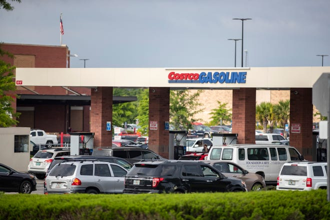 Drivers wait in long lines for gas May 11 at a Costco in Tallahassee.