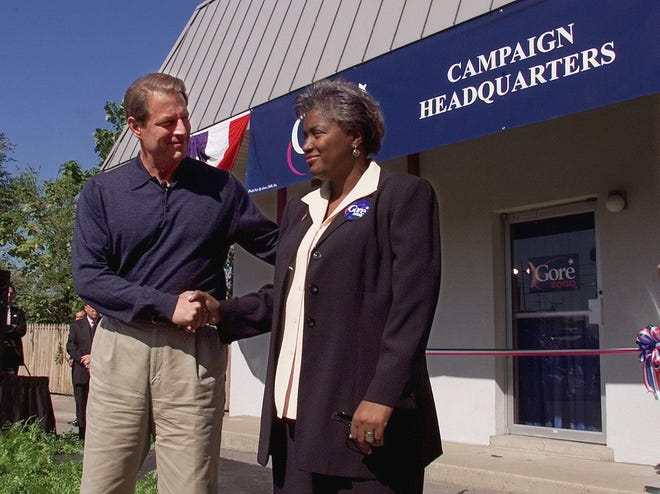 Vice President Al Gore introduces his new 2020 presidential campaign manager Donna Brazile in Nashville, Tennessee, on Oct. 6, 1999.