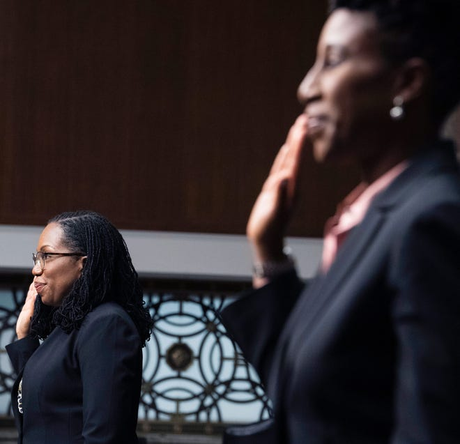 Candace Jackson-Akiwumi, nominated to be a U.S. Circuit Judge for the Seventh Circuit, right, and Ketanji Brown Jackson, nominated to be a U.S. Circuit Judge for the District of Columbia Circuit, are sworn in during a Senate Judiciary Committee hearing on pending judicial nominations, Wednesday, April 28, 2021 on Capitol Hill in Washington.
