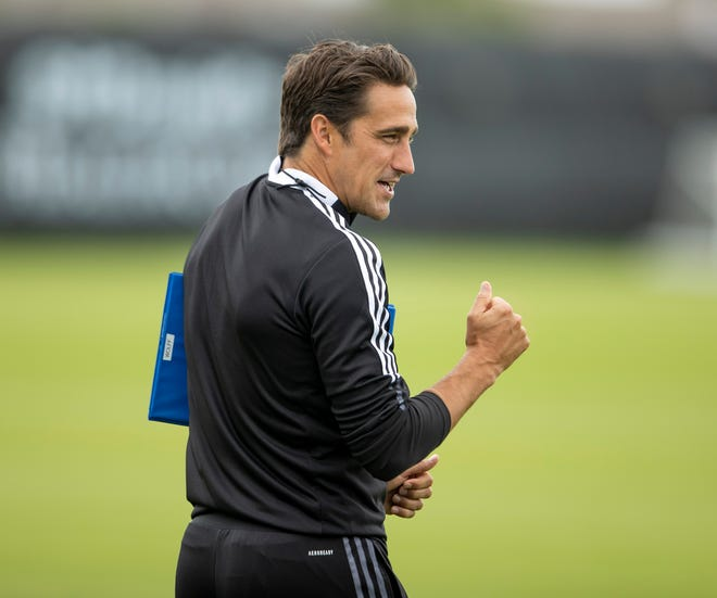 Austin FC coach Josh Wolff during practice at St. David's Performance Center on Wednesday May 12, 2021.