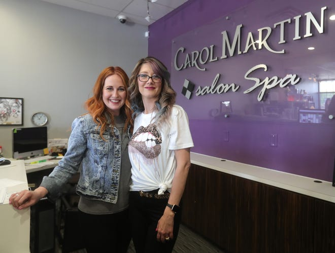 Carol Martin Salon Spa is one of 13 Tallmadge businesses to receive $5,000 from Tallmadge Grow Inc.'s Small Business COVID-19 Relief Program. The business is co-owned by Kelsey Frimel, left, and Jen Earl.