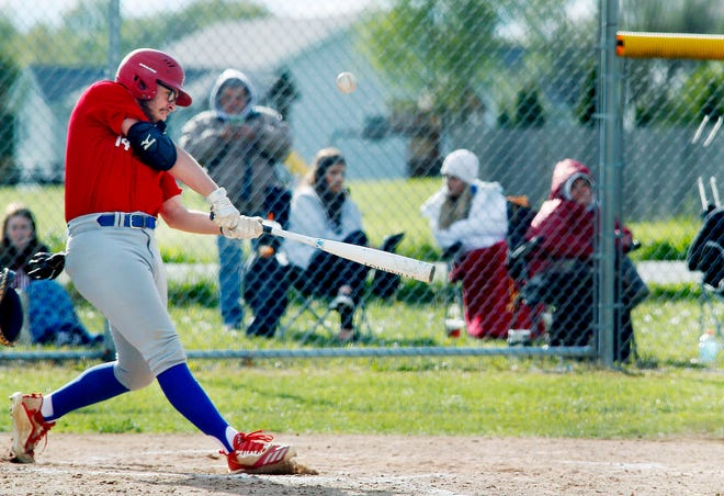 Mapleton High School's Kaleb Stafford (14) bats in the game against Crestview High School Tuesday, May 11, 2021.