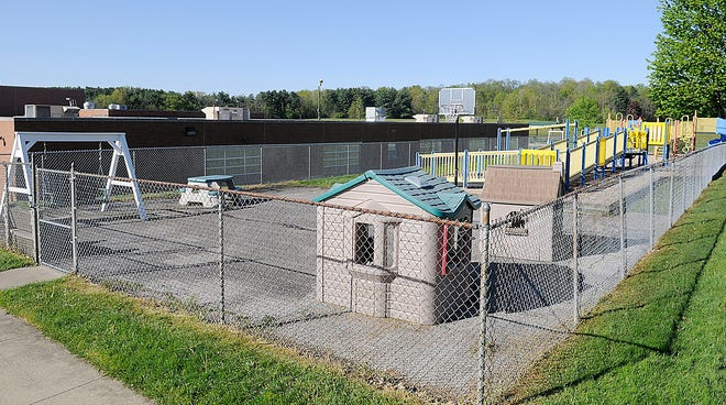 This is the playground at Dale-Roy School that the Leadership Ashland class of 2021 is raising money to rehabilitate as their class project seen here Wednesday, May 12, 2021. TOM E. PUSKAR/TIMES-GAZETTE.COM