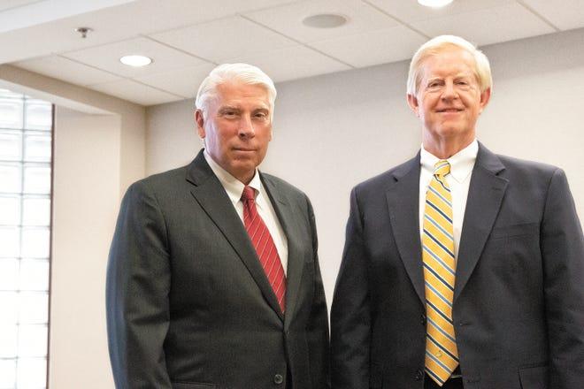 University Hospital CEO Jim Davis, left, with University's board chairman Hugh Hamilton