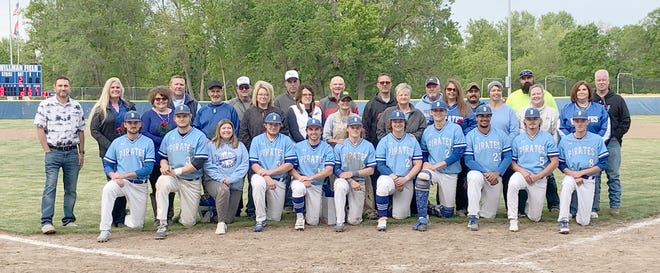 Ten members of the Boonville Pirates baseball team and one manager were recognized along with their parents during Senior Night Tuesday night at Twillman field in Harley park. The Pirates defeated Osage 10-1 to improve to 13-5 overall and 4-3 in the Tri-County Conference.