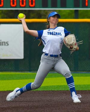 Andover junior shortstop Bailey Way throws to first base during the Trojans' 1-0 Game 1 win over Goddard on Tuesday.