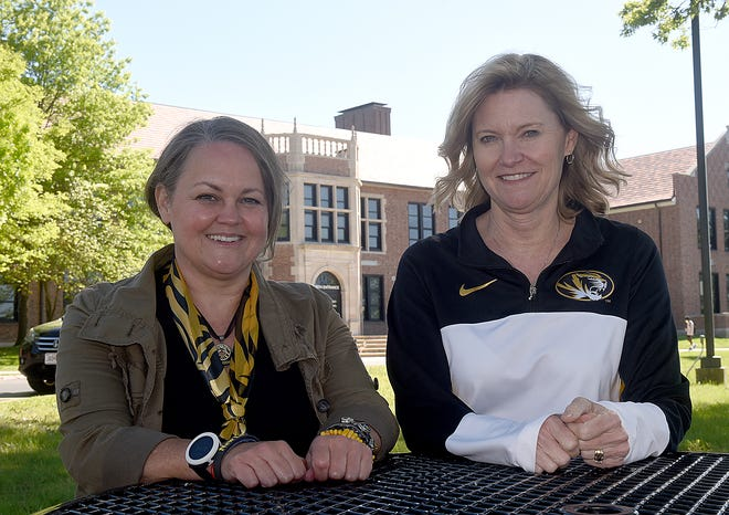 Noelle Gilzow, left, science teacher at Hickman High School, will be the new president of the Columbia chapter of the National Education Association on June 4. Kathy Steinhoff, math teacher at Hickman, is the current president.