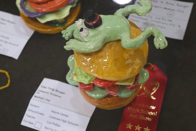 """Among Crestview High School Art Show pieces on exhibit at the Crestview Public Library is Alayna Canlas's """"Frog Burger,"""" which received the second-place ribbon in the clay sculpture category."""