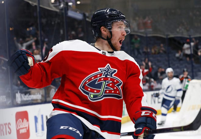 Blue Jackets forward Zac Dalpe celebrates his goal against Tampa Bay on April 6. Dalpe is the Jackets' nominee for the 2021 Masterson Award, given annually to an NHL player who displays perseverance and commitment to hockey.