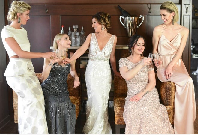 A bride and her 'maids at Square One Salon
