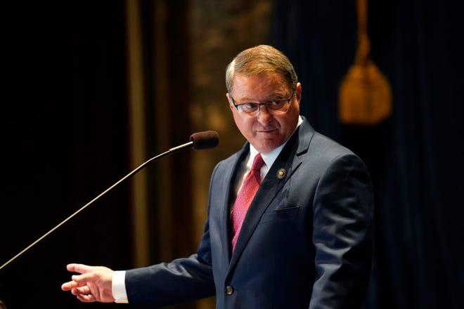 Senate President Page Cortez presides over opening day of the Louisiana legislative session April 12 in Baton Rouge.
