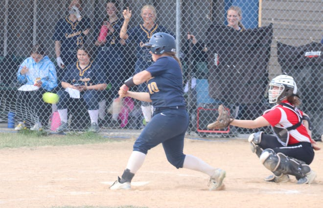 Amber Cymbaluk in a game against Ada-Borup on May 12. Cymbaluk went 3-for-4 at the plate in Friday's game against East Grand Forks.