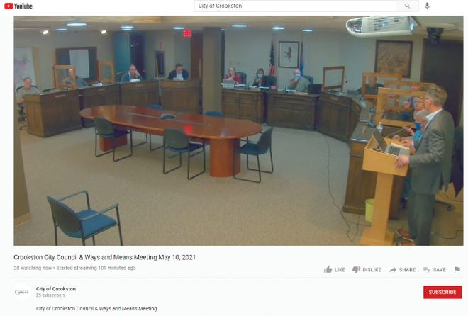 Above is a screenshot taken from the City of Crookston's YouTube channel during the livestream broadcast of Monday evening's Crookston City CouncilWays & MeansCommittee meeting. Although several close-up angles are available during the livestream, this wide angle shows Epitome Energy founder and CEODennis Egan, standing at the podium on the right, addressing the entire council, City Administrator Amy Finch and Mayor Dale Stainbrook. This week was the third council meeting that incorporated livestreaming capabilities. The Times staffed the meeting in person, but checked out the livestream feed during the discussion and took the screenshot to capture what viewers see during the livestream. At the time it was taken, 20 people were watching.