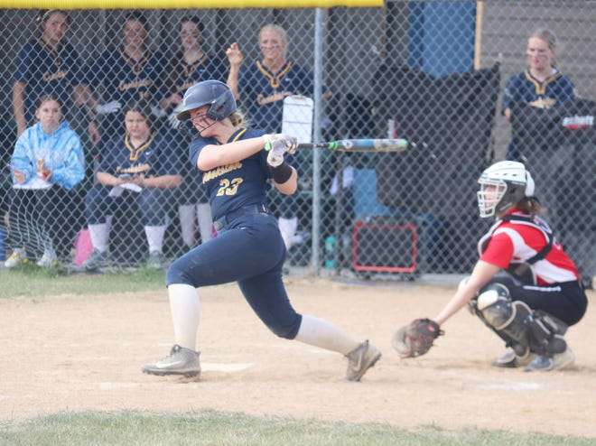Jenna Coauette follows her hit in a game against Ada-Borup on May 12. Coauette pitched a one-hitter in Crookston's 11-1 win over Red Lake County Central on Thursday.