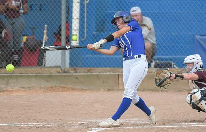 MDCA's Emily Allen (20) gets a hit during the Class 2A-Region 2 quarterfinals against Deltona Trinity Christian Academy on May 5 in Mount Dora. The Bulldogs will host Seffner Christian in Friday's regional championship game.[PAUL RYAN / CORRESPONDENT]