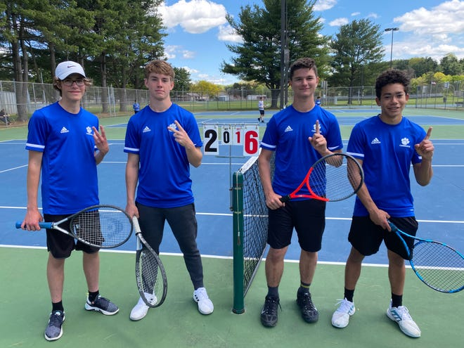 Cambridge High district qualifiers, left to right, Blade Bachmann, Brady Hannon, Justin Cole, Caleb Stanberry  are shown at Dover City Park following Tuesday's Division II sectional  tennis play.