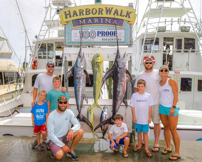 Capt. Allen and Rachel Staples, plus family, had a big outing on the 100 Proof. They pulled in two swordfish, dolphin and tuna.