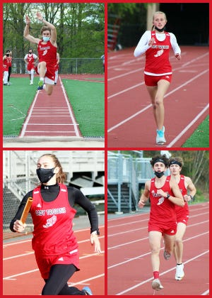 Colin Kravitz (top left) Emily Franklin (top right) Megan Betti (bottom left) and Caleb Kenyon and Owen Foytek (bottom right) have been leading the charge this spring for North Pocono's track and field teams. While the young Lady Trojans have yet to win a Lackawanna League meet, the NP gents are undefeated and hoping to stay that way following today's clash with Western Wayne. North Pocono will also host the District Two Championships on May 17-18.