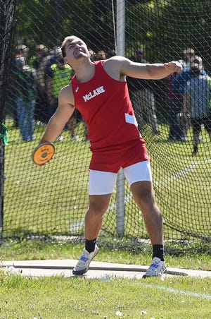 General McLane's Ryan Harvey competes in the discus event at the Erie County Classic, District 10 meet on May 12, 2021 at Harbor Creek High School.