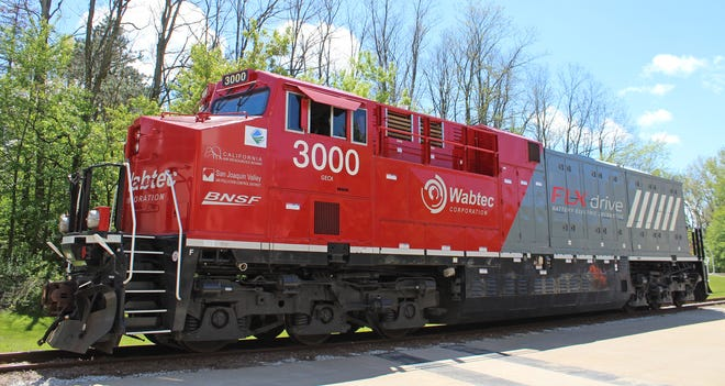 This is an FLXdrive battery locomotive, shown May 11 at Wabtec's Lawrence Park Township plant.