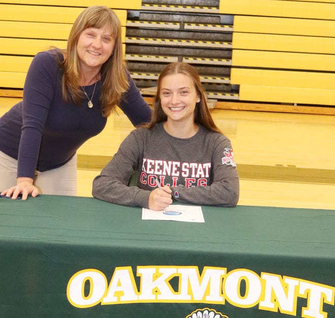 Oakmont senior Irini Stefanakos, pictured with her mother Paula Stefanakos, will continue her education and her athletic career at Keene State College in Keene, N.H., this fall.