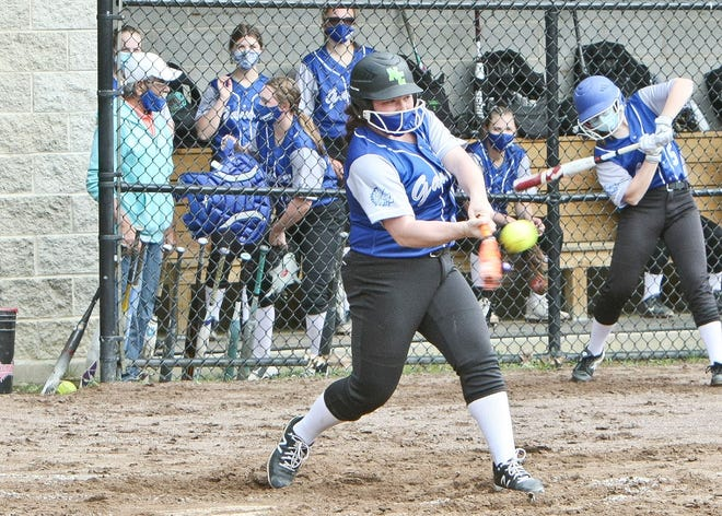 Narragansett junior Lilly Whitcomb connects with a pitch during a preseason scrimmage against Quabbin on Tuesday, May 4. Whitcomb is the Warriors' top returning hitter from the 2019 season when she posted a .396 batting average as a freshman.
