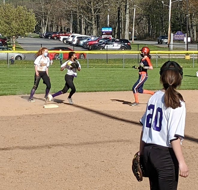 Monty Tech shortstop Izzy Stakley clears the path of the base runner after recording an out on a fielder's choice in the seventh inning of Tuesday's game against AMSA in Fitchburg.