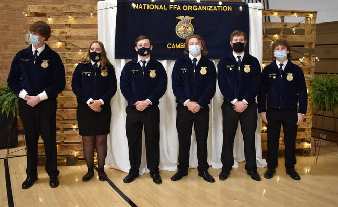 At the Cambridge FFA awards program on Saturday, April 24, advisor Trent Taber recognized graduation seniors. They are, from left, Brant Casteel, Annie Johnson, Jarrett Lund, Victor Snook, Payton Catour and Colton Stahl. Johnson was named the Outstanding Senior.