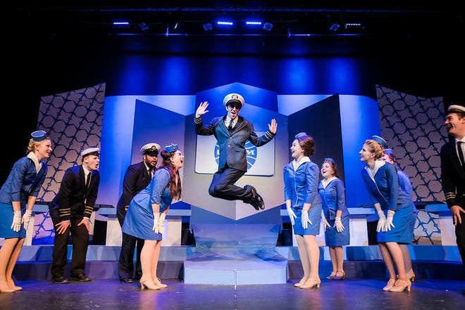 Hays resident Dylan Werth (jumping center) led the cast of Sterling College's spring musical CATCH ME IF YOU CAN last month. He also received a theatre scholarship at the recent awards night celebration.