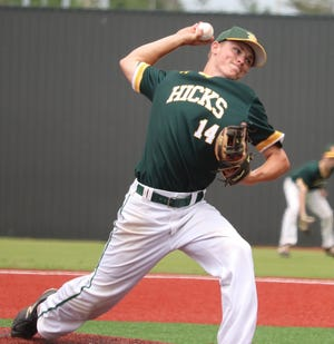 Hicks' standout Hunter Thacker threw three innings of no-hit ball to get the win Tuesday over the Downsville Demons in the Class C semifinals, 11-1.