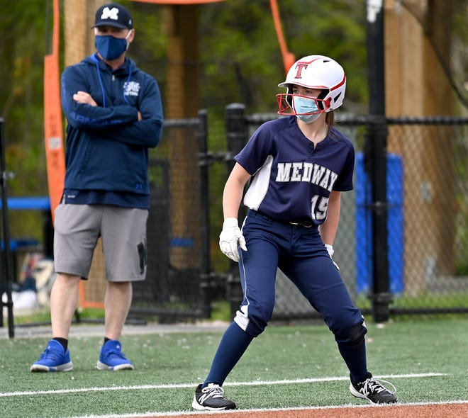 Medway's Nina Pacella rounds third base during a game against Bellingham at Medway High School, May 12, 2021.