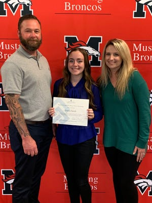 Pictured, from left, are Kris Mitchell, Emma Smith and Amy Mitchell. Emma is the recipient of the Matthew George Scott IV Bronco 4 Ever Scholarship.