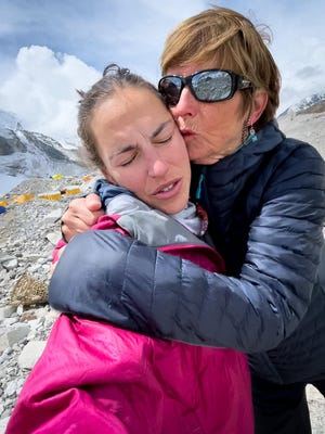 Jess and Valari Wedel hoped to be the first American mother-daughter team to summit Mount Everest, but earlier this week, Valari, right, had to be medi-flighted off the mountain after having issues with her asthma and dealing with low oxygen-saturation levels.