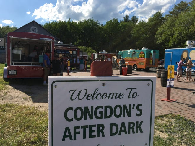 Food trucks gather at Congdon's After Dark Food Truck Park in Wells, Maine,
