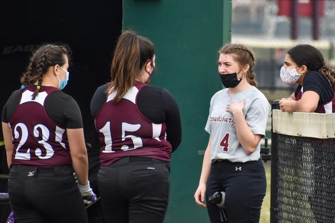 Standout Stroudsburg softball player Natalie Berwick (second from right) gives advice to junior varsity softball players during a scrimmage against Pocono Mountain West in Stroudsburg on Thursday, March 25, 2021. Berwick, a junior, is a leader on and off the field for Stroudsburg.