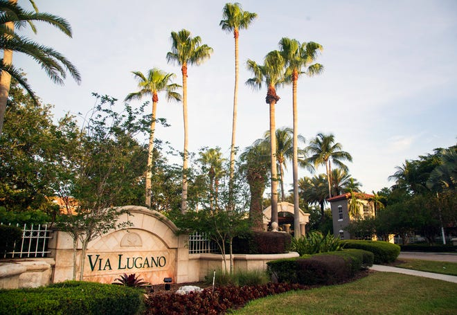 The Via Lugano apartment complex Wednesday, May 12,2021, where a Boynton Beach police officer shot and killed a man while responding to a domestic incident Tuesday night.