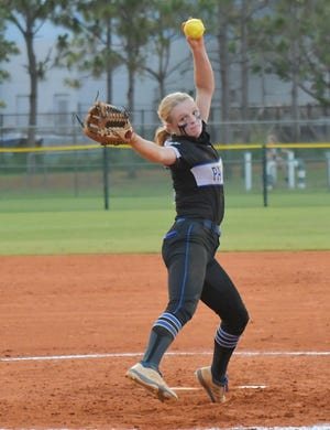 Park Vista's Chloe Fariello fires a pitch against Palm Beach Gardens during last week's regional semifinal. Fariello threw 145 pitches in the 4-3 win and is the Cobras' star pitcher heading into state this weekend.