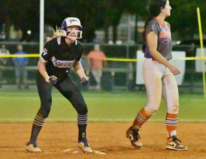 Park Vista's Emily Konz celebrates after advancing to second base during Tuesday's 10-inning 4-3 victory over Palm Beach Gardens in the regional semifinals.