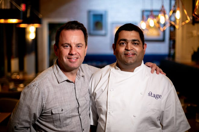 Stage Kitchen partners: Chef Pushkar Marathe, right, and general manager Andy Dugard. Their Indian-inspired small plates restaurant opened Feb. 14, 2020 in Palm Beach Gardens.