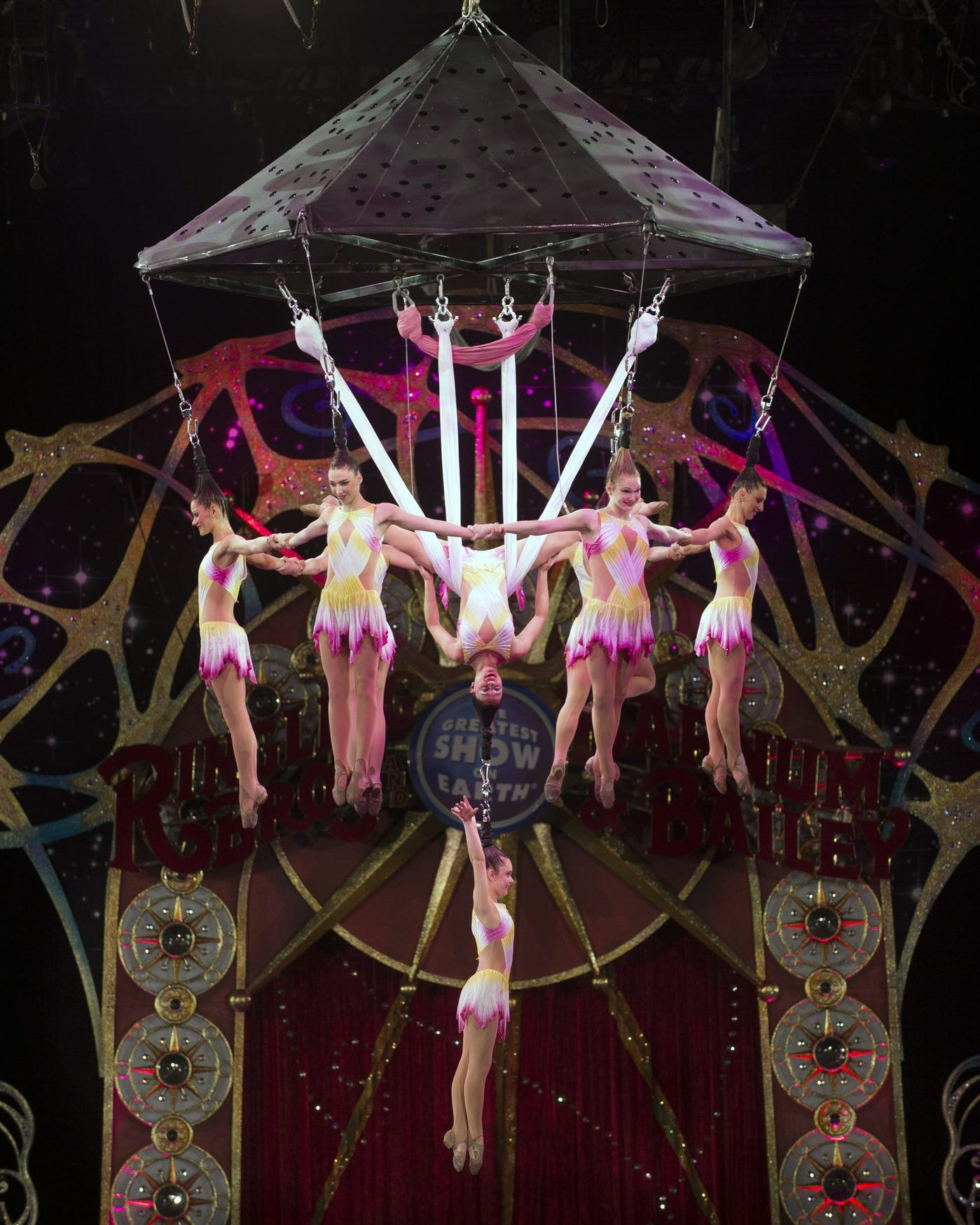 A Promotional photo showing the Lotus Blossom hair-hanging act that was in the Circus accident at the Ringling Bros. and Barnum & Bailey Legends Tour Sunday, May 4, 2014 at The Dunkin' Donuts Center in Providence.