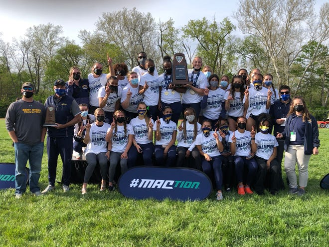 The Kent State women's track and field team took first place at the 2021 Mid-American Conference Outdoor Championships last weekend in Oxford, Ohio.