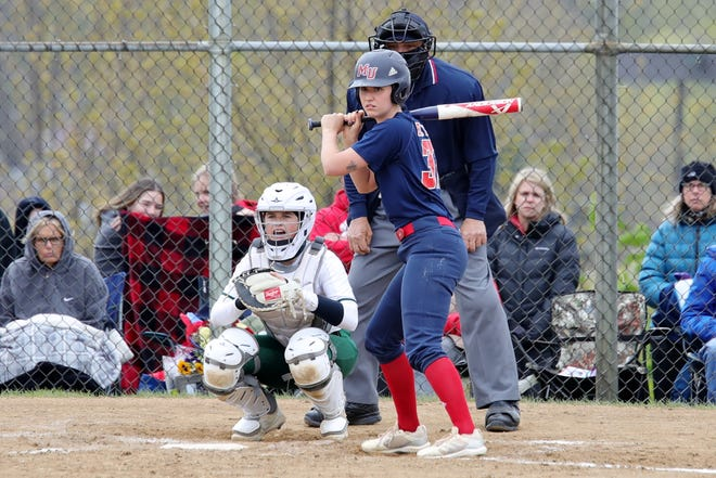 Malone's Bailey Byers led the Great Midwest Athletic Conference in hitting with a .495 average and in home runs with 14 during the regular season.