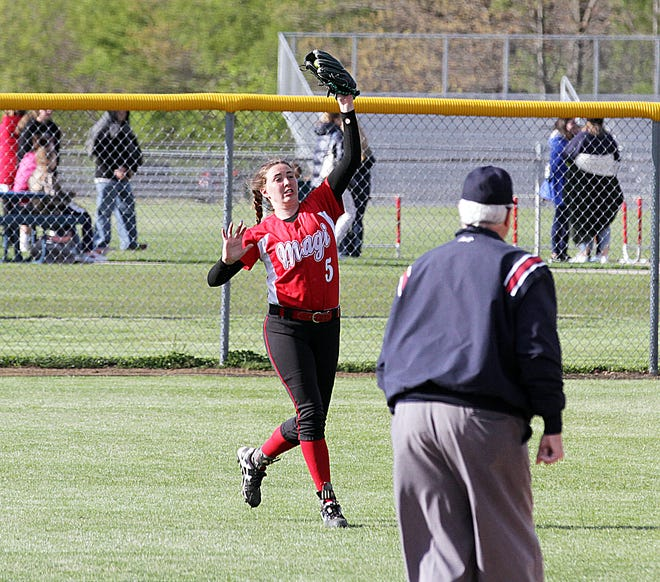 Colon outfielder Adyn Bower makes a running catch for an out against Athens on Tuesday.
